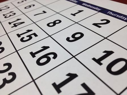 Black dates on a calendar.